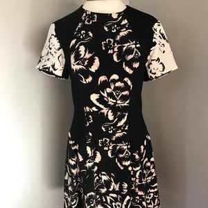 Rebecca Taylor Black Floral Dress with Silk Panels